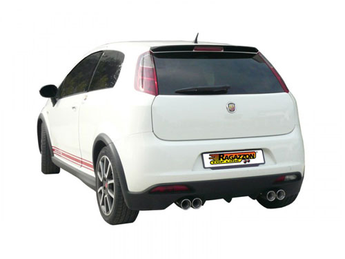 Ragazzon Stainless Steel Sports Exhaust Left/Right with Round 2x80mm Tail Pipes (Abarth Grande Punto/EVO)