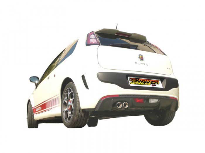 Ragazzon Stainless Steel Super Oversize 70mm Sports Exhaust with Round 2x80mm Staggered Tail Pipe (Grande Punto/EVO Abarth)