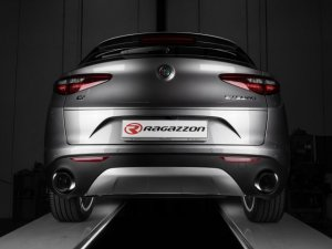 Ragazzon Stainless Steel Round Carbon Shot Tail Pipes 2 x 118mm - part of a kit Alfa Romeo Stelvio