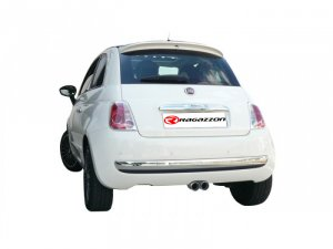 Ragazzon Stainless Steel Sports Exhaust with Two Centered Round 2x70mm Tail Pipes (Fiat 500 1.2/1.3 16V Mjet)